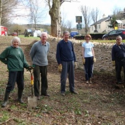 Cotswold Voluntary Wardens putting in over 70 hours of work at the Seven Springs site including tidying up the spring area, planting wild flowers, thinning saplings, clearing rubbish and laying boulders along the edge of the lay-by to prevent incursion by vehicles.